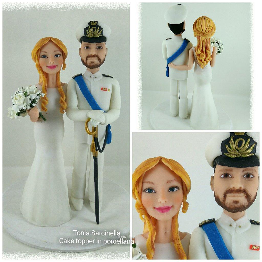 Cake topper sposi marina militare