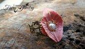 Anello foglia perla fiume fimo pasta polimerica bronzoregolabile filigrana ottone rosa antico