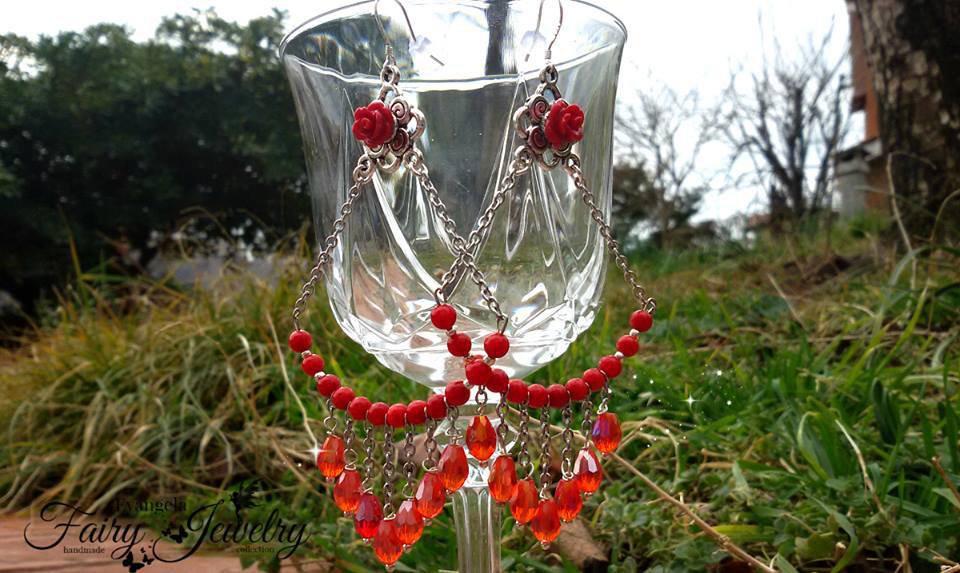 Orecchini perle corallo argento 925 acciaio mezi cristalli rosso grandi