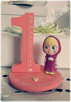Cake Topper Masha, Primo Compleanno bimba, Bomboniera, regalo per lei, decorazione torta