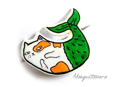 Spilla gatto Sirena pins in plastica termoretraibile Shrink pins