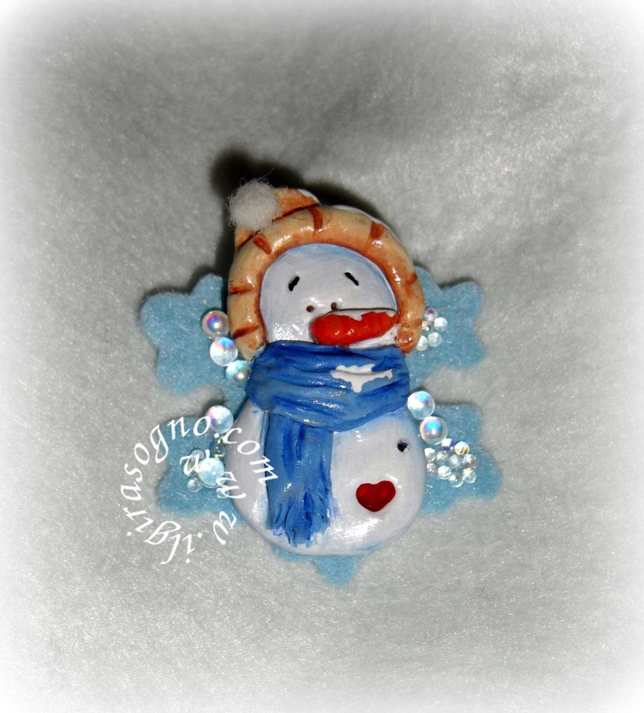 SPILLA COUNTRY SNOWMAN- BROOCH CONUTRY SNOWMAN