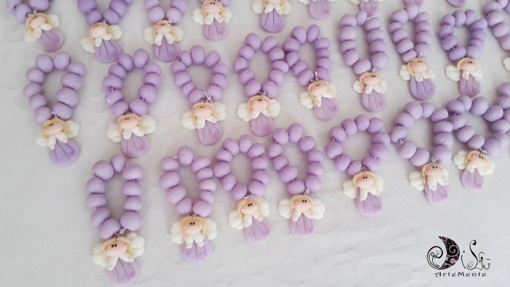 inserzione riservata 25 bomboniere rosario con angelo lilla e bigliettini