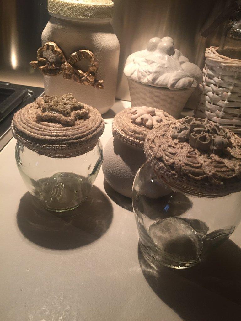 Tris barattoli decorati per la casa e per te decorare - Barattoli vetro decorati ...