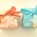 BOMBONIERA COMPLETA - NASCITA BATTESIMO -STELLA  e PIEDINI  fimo porta confetti scatolina portaconfetti CARTIGLIO NOME