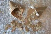 50 coni portariso rustici + 5000 coriandoli a cuore, porta riso matrimonio rustico, carta da pacchi