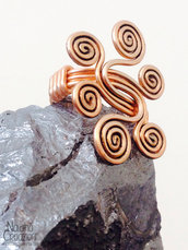 ANELLO WIRE COLOR RAME CON SPIRALI