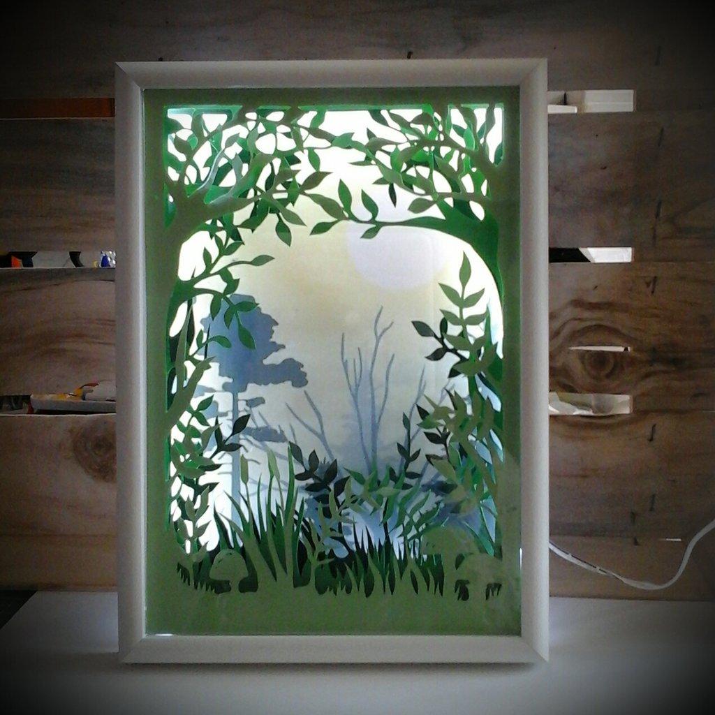 Quadro luminoso a led bosco verde
