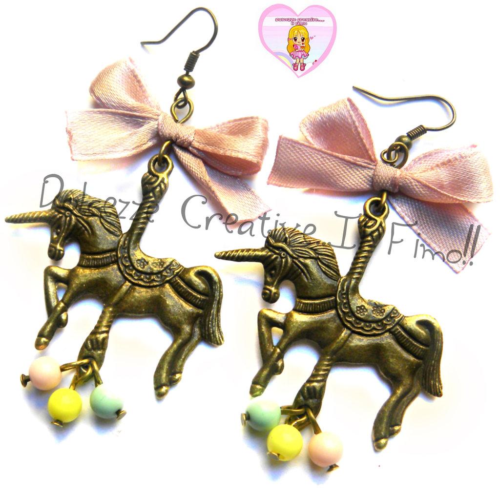 Orecchini Giostra - Unicorno - kawaii handmade pastel color - miniature