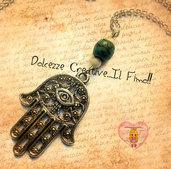 Collana Mano di Fatima - Hamsa - Khamsa - Amuleto - Protezione dalla malvagità e dal malocchio
