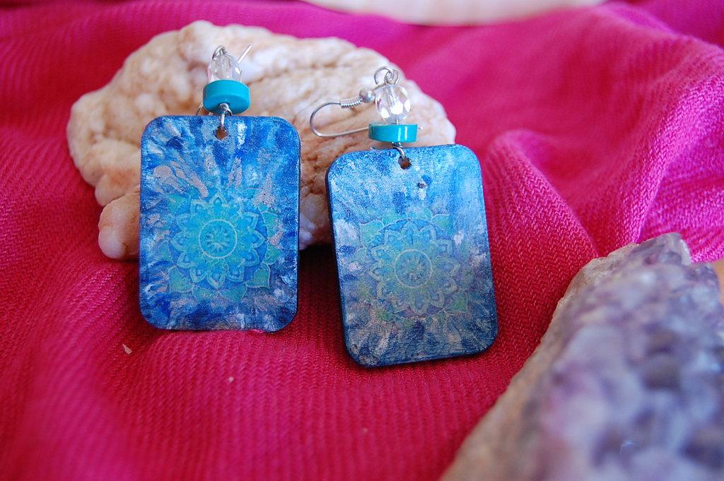 Orecchini linea Eco-Yogica mandala blu