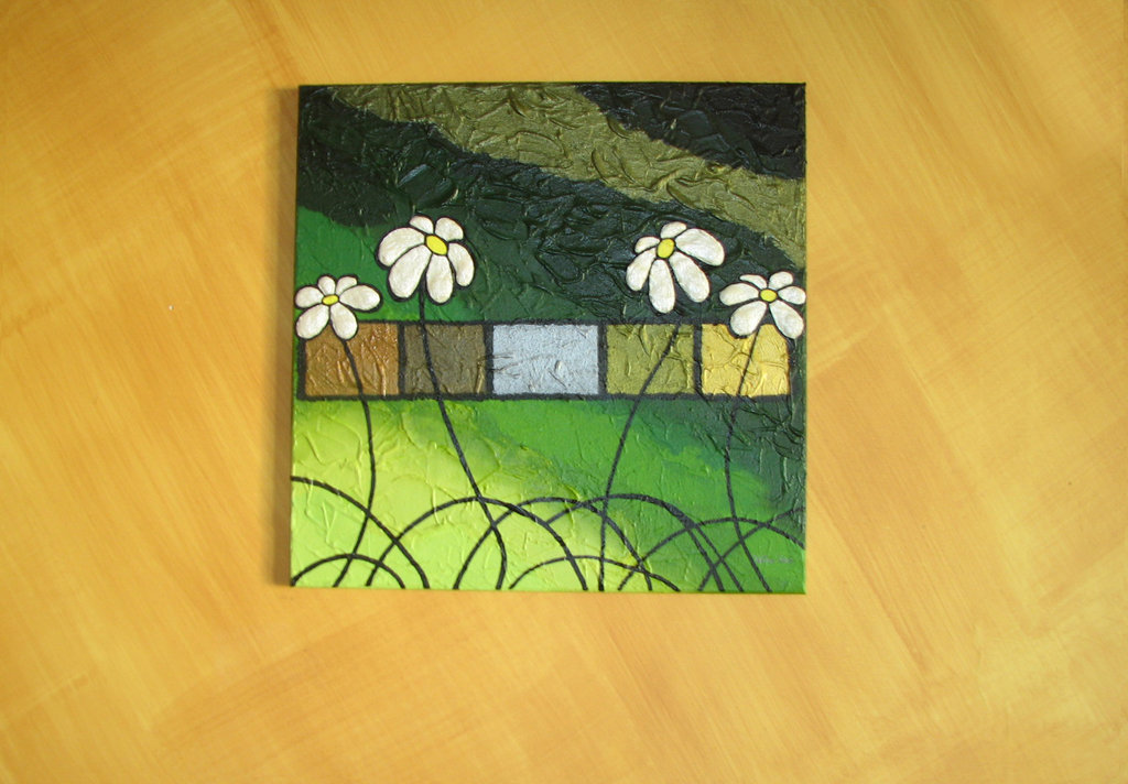 margherite in verde relievo - Flower and green love painting Textured acrylic on canvas