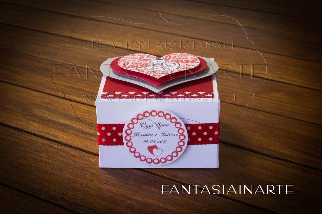 Segnaposto Bomboniera artigianale per Matrimonio + 3 Confetti