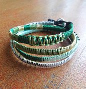 Bracciale macramè verde, wrap bracelet, bracciale lungo, chan luu style