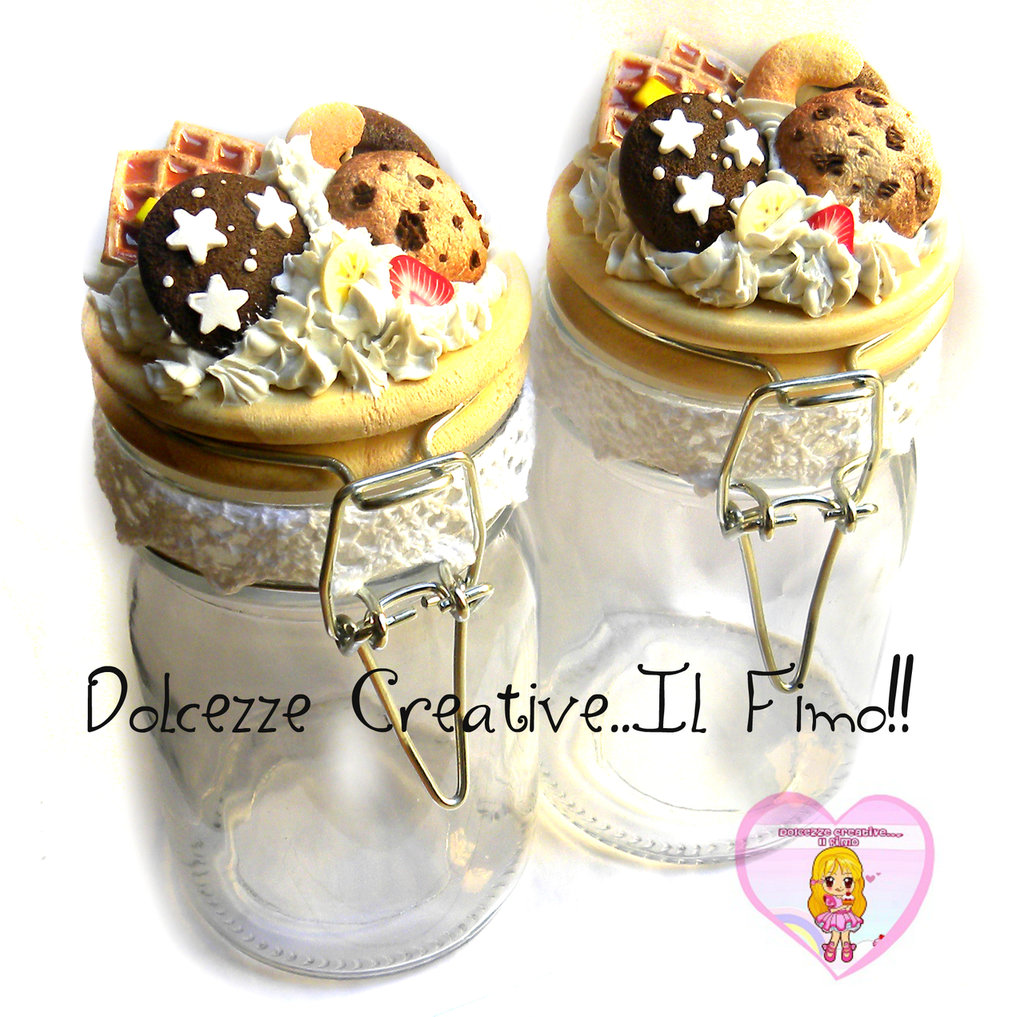 COPPIA di barattoli porta spezie - decorati con panna e biscotti - waffle, cookie, pan di stelle handmade