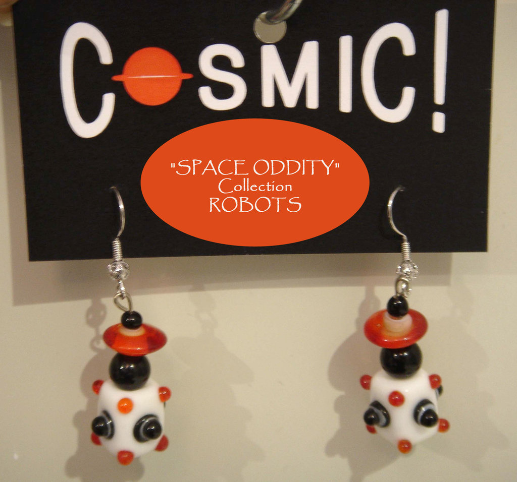 """Orecchini Robot bianco/rosso/nero - """"Space Oddity"""" Collection"""