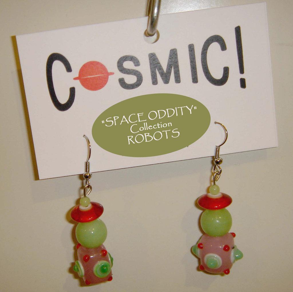 """Orecchini Robot verde giada/rosa/rosso - """"Space Oddity"""" Collection"""
