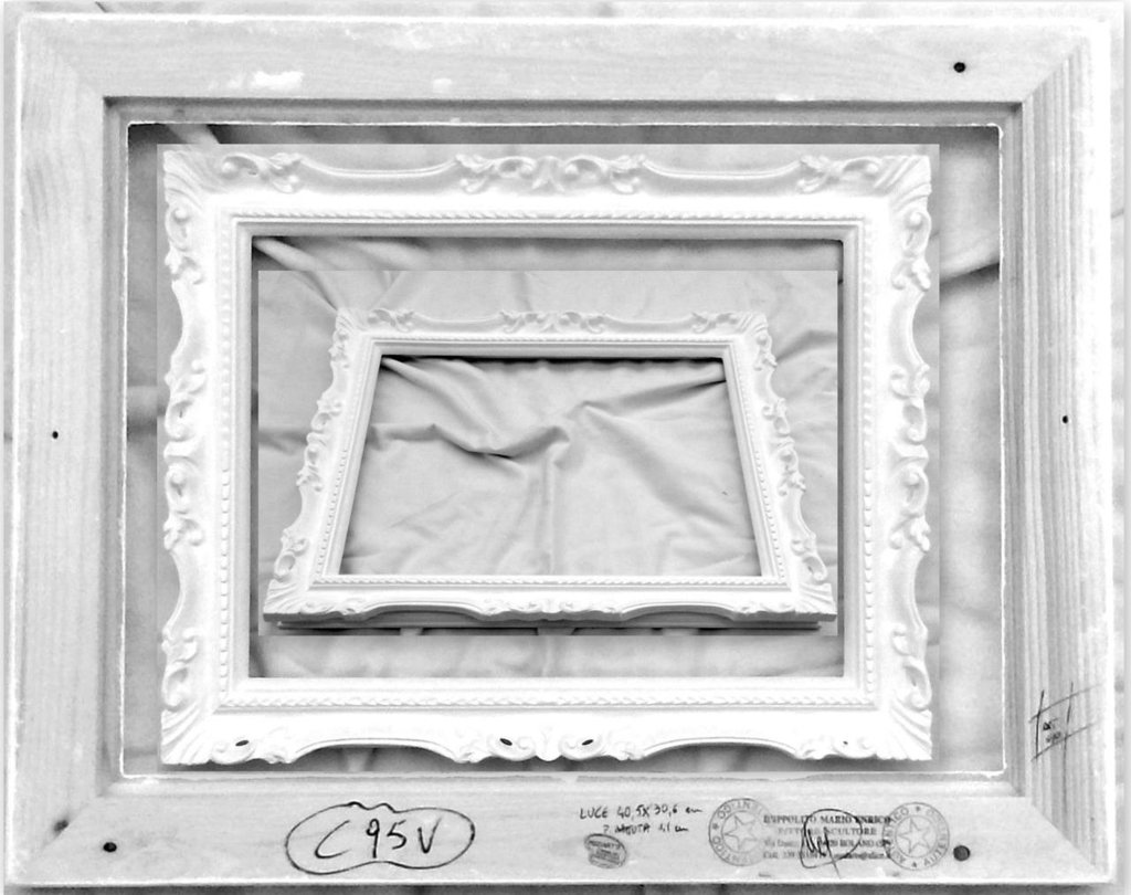C95V CORNICI NUDA CORNICE BAROCCO FRANCESINA Misure Interne 40,5X30,6 cm LUCIDA BIANCA FIRMATA IN LEGNO PER SPECCHI, FOTO, DIPLOMI, ETC. - NO SU MISURA medippolito !