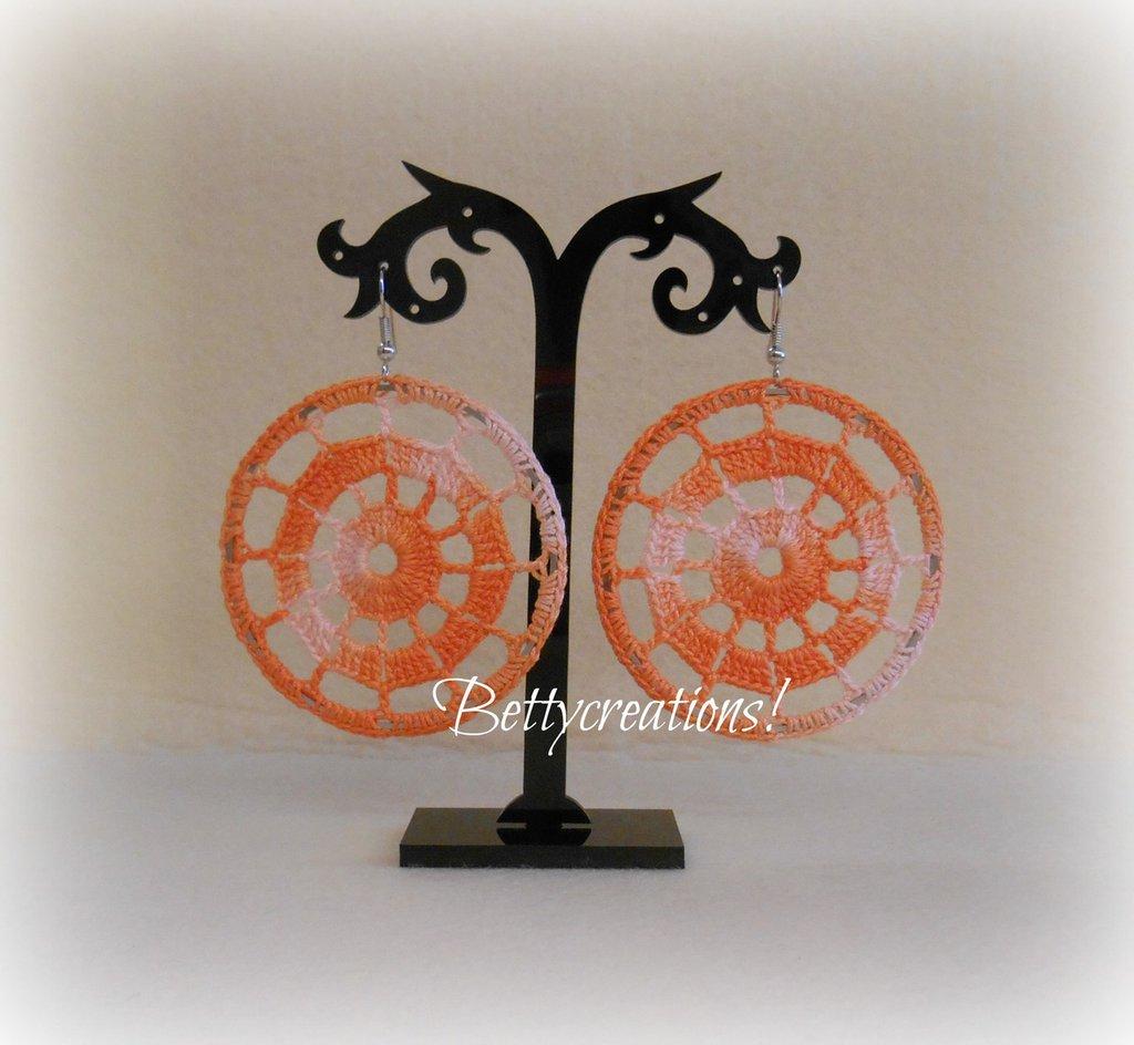 Orecchini Cerchio Uncinetto Arancione
