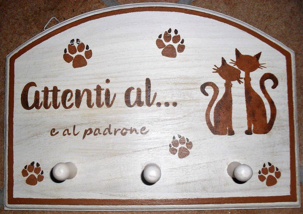 Appendino 3 posti per amanti dei gatti dipinto a mano