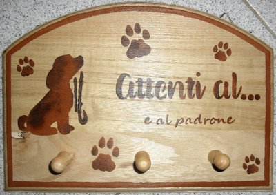 Appendino 3 posti per amanti dei cani dipinto a mano