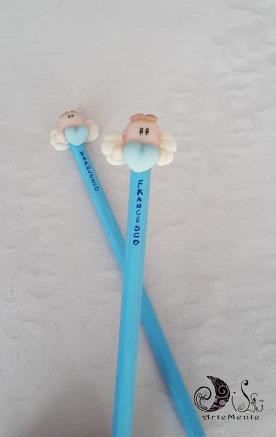 Bomboniere matite angelo con cuore personalizzabili con nome glitter perlescente per bimbo, bomboniere matite per battesimo e comunione