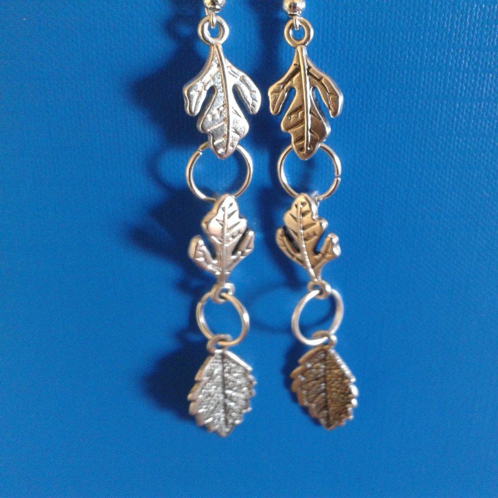 Orecchini di metallo con 3 foglie versione + lunga Creazione Originale