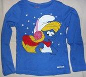 Maglietta a maniche lunghe azzurra da bambina