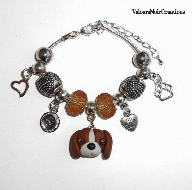 Bracciale con ciondolo cane beagle in fimo