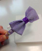 Cerchietto in raso con fiocco lilla