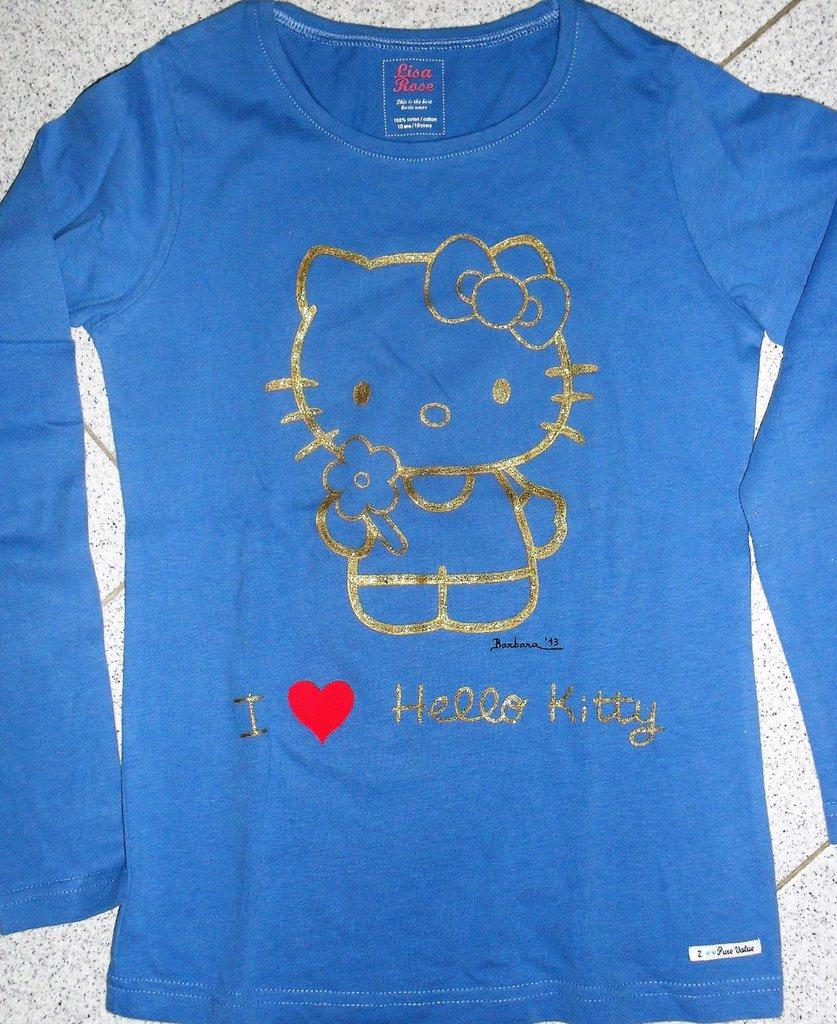 Maglietta azzurra da bambina a maniche lunghe