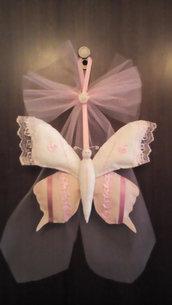 Fiocco nascita farfalla rosa