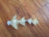 Finale con fiocco, ricambio per lampadari, color trasparente ed oro