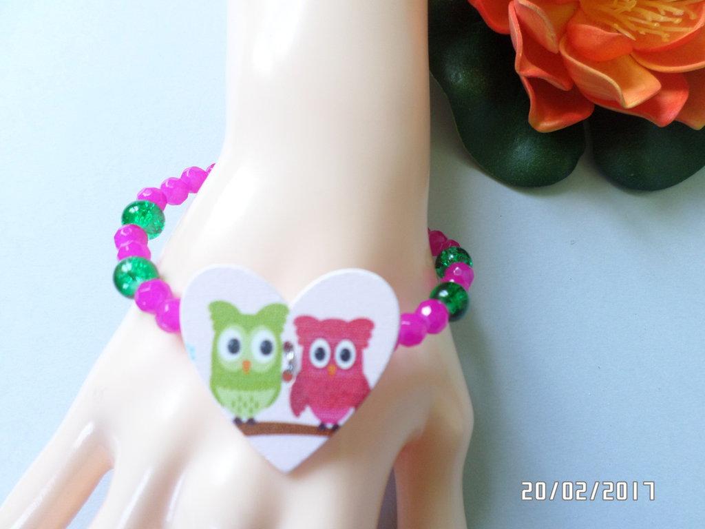 bracciale trend ragazza civette agata fuxia e perle verdi