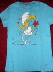 Maglietta turchese a maniche corte da bambina