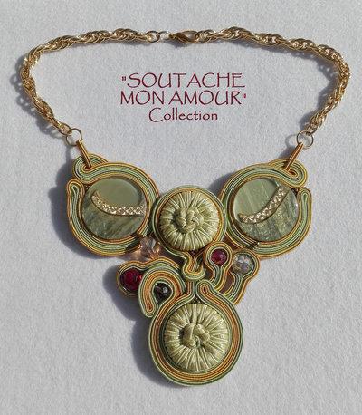 """Collana verde-ocra in Soutache con 4 bottoni vintage - Collezione """"Soutache Mon Amour"""""""