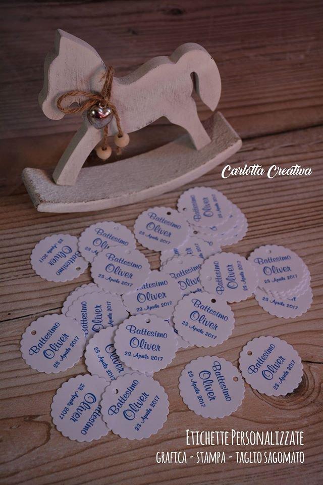 Etichette / Tags personalizzate per eventi ( Battesimo/ Comunione / Cresima / Laurea / Compleanno / Anniversario / Matrimonio) o per Creative.