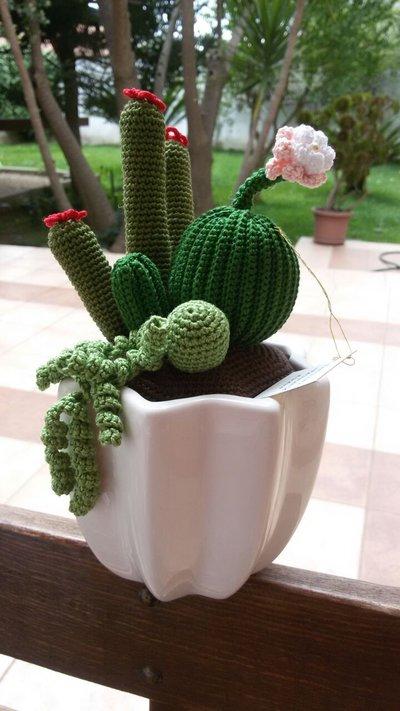 Cactus amigurumi in vasetto di ceramica