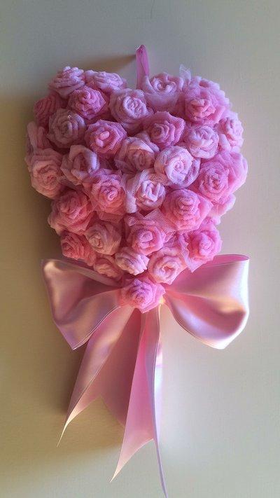 Fiocco nascita cuore di rose