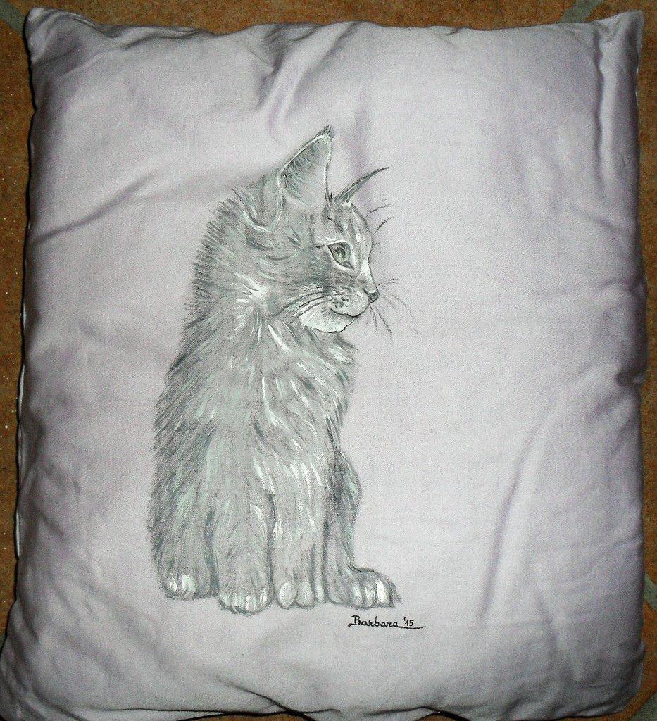 Cuscino dipinto a mano per amanti dei gatti