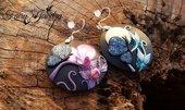 Orecchini fimo pasta polimerica farfalla giorno e notte abbinati argento 925 antiallergici luna fluorescente