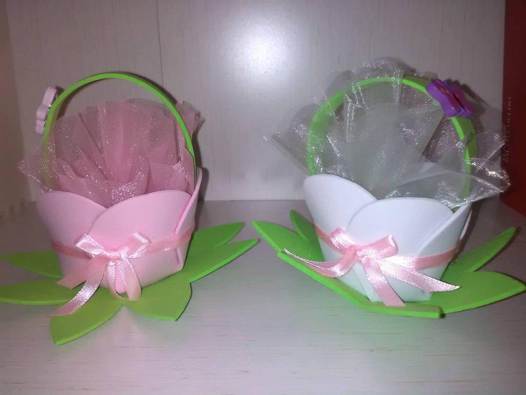 """cestini fiore portaconfetti artigianali in materiale """"eva"""""""
