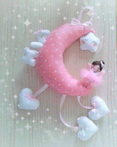 Fiocco nascita bimba luna e ballerina in pannolenci feltro