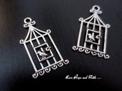 "Charm ""Cage&Bird"""" color argento (16x31mm) (cod. New)"