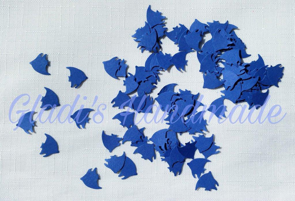 100 Coriandoli a forma di pesciolino di cartoncino blu per scrapbooking