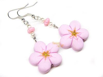 Orecchini fiori di pesco kawaii fimo regalo ragazza donna