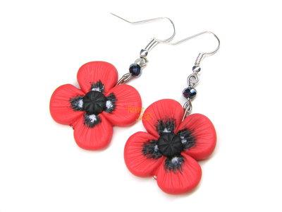 Orecchini fiori di papavero kawaii fimo regalo ragazza donna papaveri
