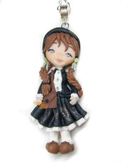 Collana Doll bambolina monella fimo necklace idea regalo clay Kawaii