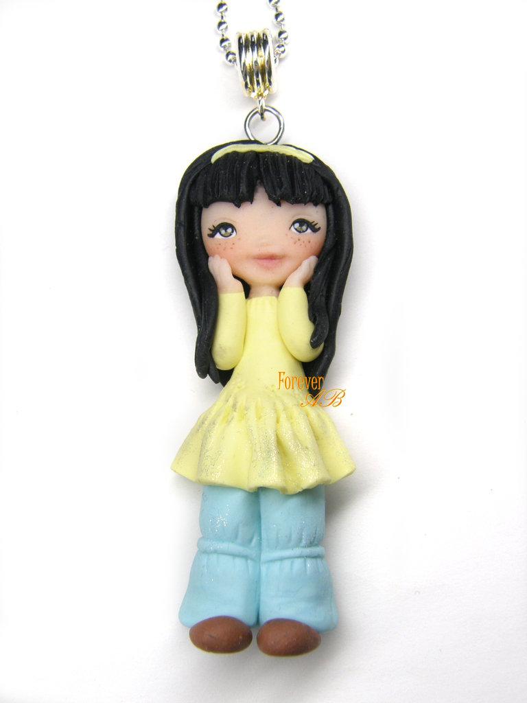 Collana Doll bambolina con jeans fimo necklace idea regalo clay Kawaii