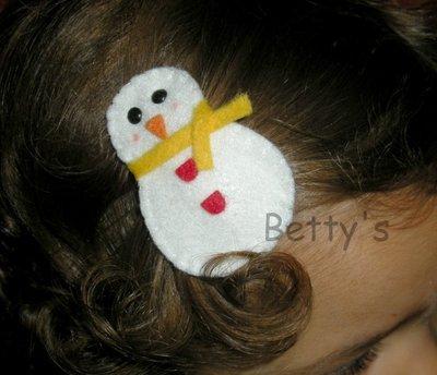 Fermaglio - molletta per capelli Pupazzo di neve